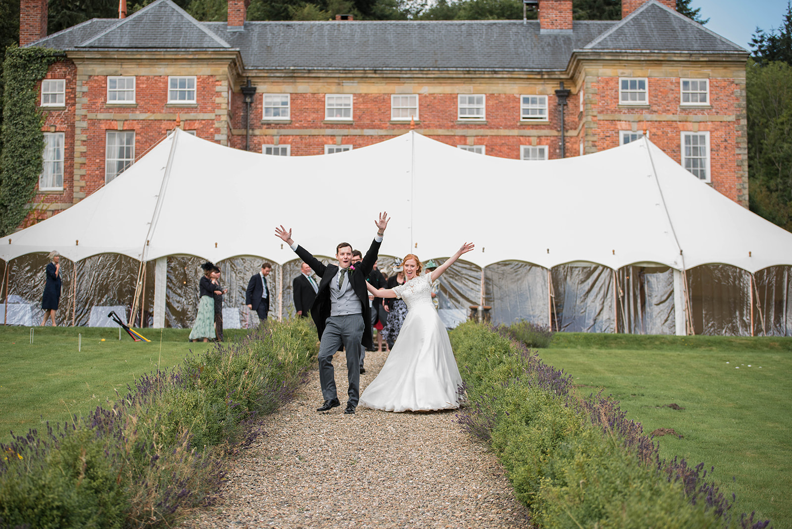9m x 21m Pretty Petal Marquee with Bride and Groom - Jon Hesketh photographer